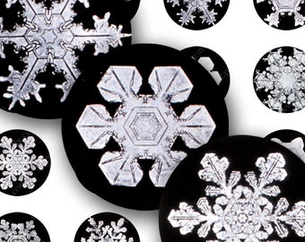 Printable Real  Black and White Victorian Christmas Holiday Snowflake Photos from 1900, 1 inch Circles, Digital Collage Sheet -- piddix 212