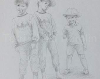 Custom Portrait Drawing of 3 Children, Custom Pencil Portrait of boys, Hand Drawn Portrait  of Kids, Custom Drawing of Children