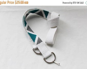 ON SALE Turquoise and silver hand painted camera strap