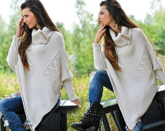 Pullover-poncho with sleeves knitted,pullover knitted to order,poncho woolen knitting warm,warm pullover to order knitting to order.