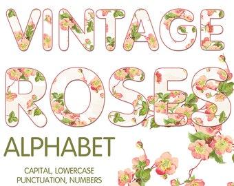 Digital Vintage Roses Alphabet, Wedding Alphabet, Floral Alphabet, Wedding Digital Lettering, Printable Lettering, Instant Download, #48