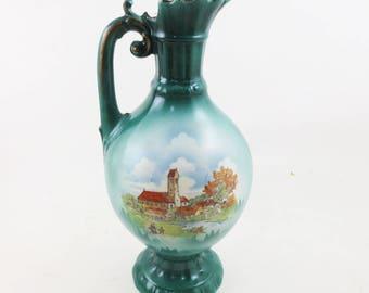 Vintage Decorative Pitcher Ceramic Teal Green Blue Printed Scene Old Footed Vase Pottery