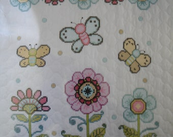 Artiste Butterfly Cross Stitch Quilt Kit/Baby Crib Cover Pre-Stamped & Quilted 34 x 42/ Adorable Butterflies and Flowers designed