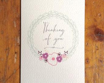 Thinking of You Anemone Circle Card FREE UK P&P