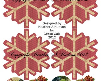 Shabby Vintage Christmas Snowflake Ornaments tag Digital Collage sheet Clearance