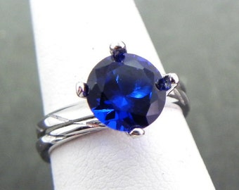 AAA Blue Sapphire  Round   8mm  2.17 Carats   Manmade 14K white gold Bridal set 1363