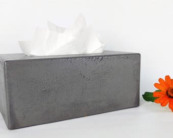 Concrete Tissue Box Cover / Kleenex Tissue Box Cover / Rectangular Tissue Box Cover / Facial Tissue Box Holder / Bathroom Organization