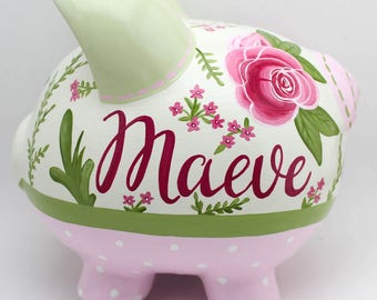 Roses for Bella Personalized Piggy bank in Green, and Pink Floral