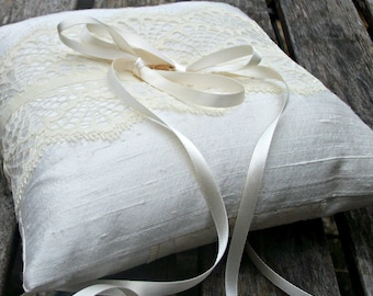 Wedding Ring Bearer Pillow, ring cushion in Ivory Raw  Silk With a Strip of Buttercream Vintage Lace