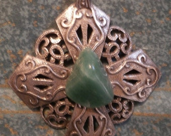 Large 2.5 INCHES green agate pendant necklace