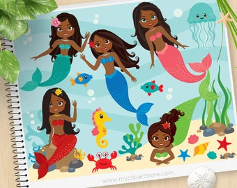 Mermaids, African American Clipart, Princess, Under the Sea, sea horse, starfish, jelly fish, Commercial Use, Vector clip art, SVG Cut Files