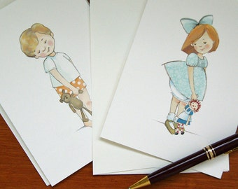 Boy and Girl Notecards - Red Hair - Children's Illustration, set of 8