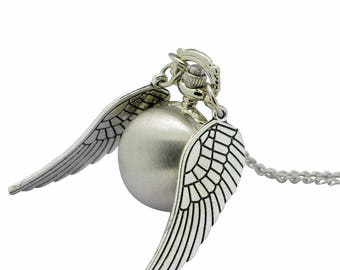 Steampunk Silver Snitch Bronze Pocket watch Necklace,Round Ball With Wings Pendant