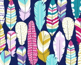 Arrow Flight Plucked Midnight by Michael Miller - Navy Blue Feathers Metallic Gold  - Quilting Cotton Fabric - choose your cut