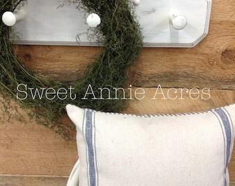 Grain Sack Pillow Cover/Blue Stripe/Cream Fabric/Zipper Closure