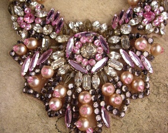 Fabulous Pink statement necklace  - hand beaded bib - pearls and rhinestones - vintage Gothic wedding necklace  -Hauntingly Victorian choker