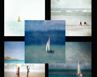 5 square mini cards, seascape, sailboats, fishing,  mixture, envelopes, Greeting Card, Gift Card, Creative Fine Art Photography
