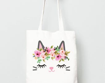 Kids Tote Bag, Kitty Cat with Flower Crown