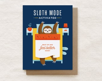 Funny Get Well Card, Get Well Soon Card, Feel Better Card, Sloth Card, Get Well Soon Card for Friend - Sloth Mode