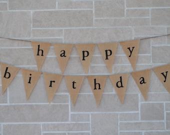 Birthday Banner,  Happy Birthday Banner, Burlap Banner,  Happy Birthday