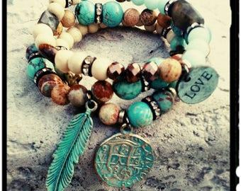 The Blues - Beaded Stone Stacking Bracelets - Set of 3 - Aqua Jasper//Picture Jasper//Czech Beads//Feather//Patina Charms - Chunky//Boho