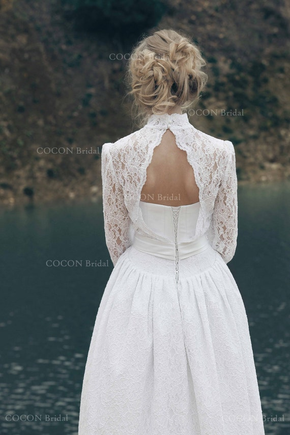 Long sleeve Wedding dress made from Atlas and Venetian Lace