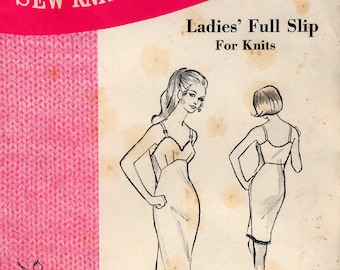 Unused 1970 Ladies' FULL SLIP PATTERN Size 8-10-12 Kerstin Martensson Sew-Knit-N-Stretch #236 Master Pattern Vintage Sewing