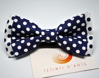 Handmade bow tie for men made up of cotton fabric blue/white