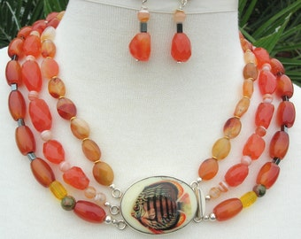 Orange Tropical Fish Porcelain & Sterling Clasp, Carnelian/Agate/Unikite/Hematite Beads,Multi-Strand Statement Necklace Set by SandraDesigns