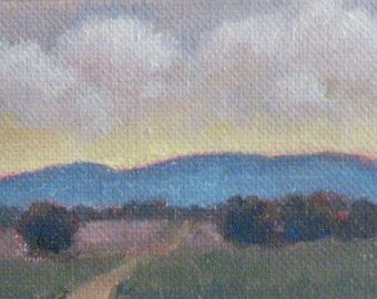 """ACEO Sunset Clouds Painting Santa Barbara Landscape Original Oil Painting Gift for Him or Her Miniature 2.5""""x 3.5"""" Canvas Jennifer Boswell"""