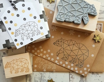 Christmas Geometric Bear Rubber Stamp  - Christmas Stamper - Polar Bear Stamp - Wrap -  Card Making - Pattern - Scrapbooking - Contemporary
