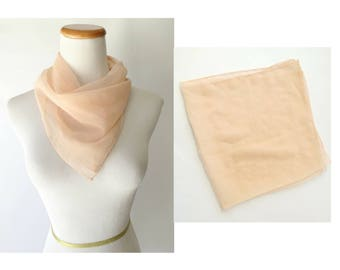 Sheer Pink Scarf Transparent Handkerchief Retro 50s 60s See Through Neck Scarf Accessory Filmy Gift for Her