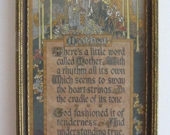Art Deco BUZZA Frame Wooden Wood Vintage MOTHER Print GL Salisbury Poem