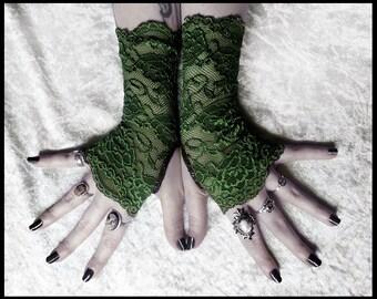 Arwen Lace Fingerless Gloves - Deep Fern Army Green Floral - Gothic Vampire Lolita Wedding Fetish Dark Tribal Goth Gypsy Moss Olive Hunter