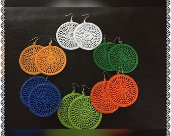 Solid Color Round Crochet Earrings