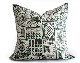 Batik Pillow, Batik Cushion, Green Pillows, Beach Decor, Decorative Pillows, Throw Pillows, Coastal, Pillow Covers, Sea Turtles, 20x20
