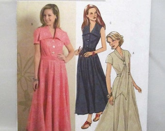 Butterick 4797 Easy Misses/Misses Petite Semi Fitted Flared Shirtdress and Belt Size 8-10-12-14 UNCUT