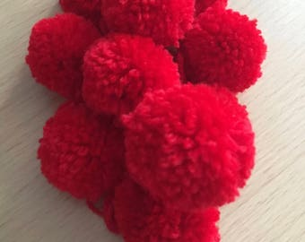 35mm Red Pom Poms, 10 Red Pom Poms, Red Wool Pom Poms, 10 Pom Pom, Baby Pom Poms, Pom Pom Decorations, Handmade Pom Poms, Christmas Crafting