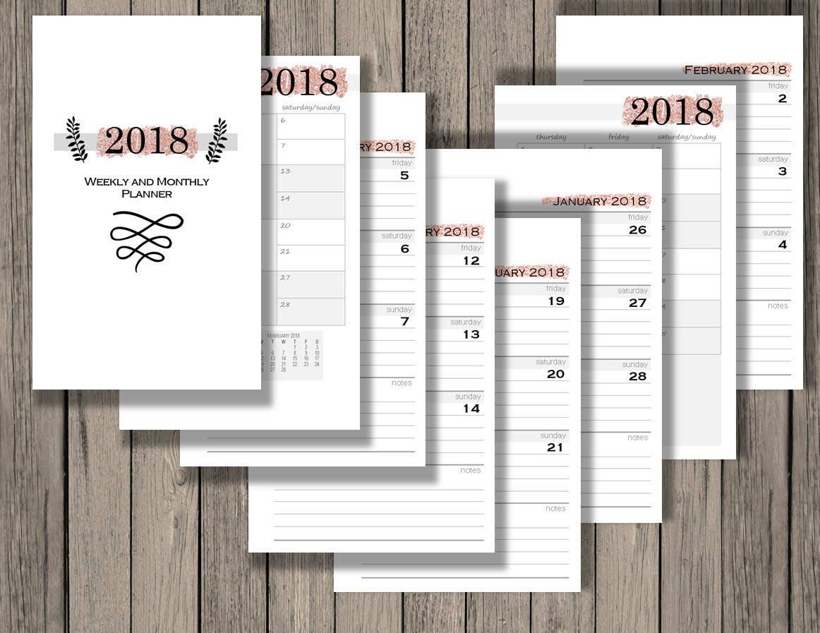 2018 weekly calendar printable