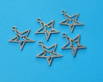 Silver Star Pendants, Shooting Stars, Wishing Star Pendants, Celestial Jewelry, Tibetan, Stars, Wish, Charm Bracelet, Charm Lot, #11L