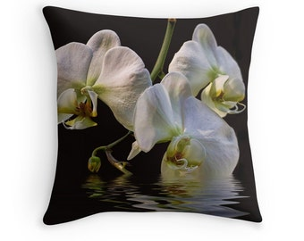 Orchid Pillow, White Flowers, Black and White Cushion, Floral Pillow, Flower Decor, Gardener Gift, Flower Photography, Gift for Wife