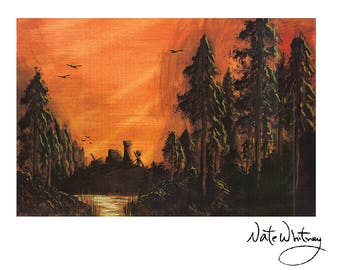 Dark Forest Painting Print