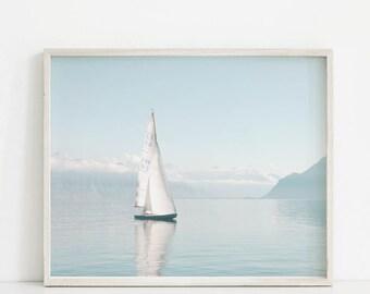 Sailboat Print, Beach Decor, Wall Art, Photography, Printable Art, Seascape Photography, Nature Photography, Ocean Decor, Nautical Print