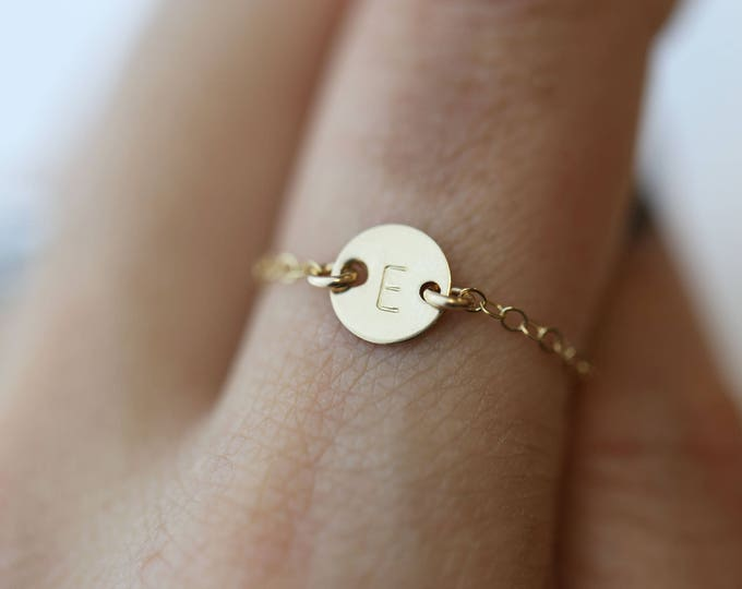Small Coin Initial Ring / Dainty Initial Ring / Personalized friendship rings / silver rings / delicate chain rings / Monogram custom rings