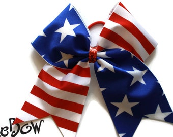 Cheer Bow Red and White stripes and Blue with white stars