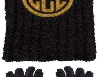 Glitter Monogram Hat & Glove Set