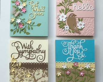 Card Kit Set of 4 DIY Get Well ThankYou Hello and Sympathy Cards