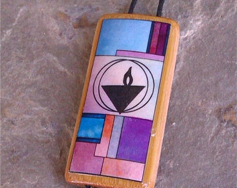 Colorful UU Flaming Chalice - Bamboo Pendant Necklace