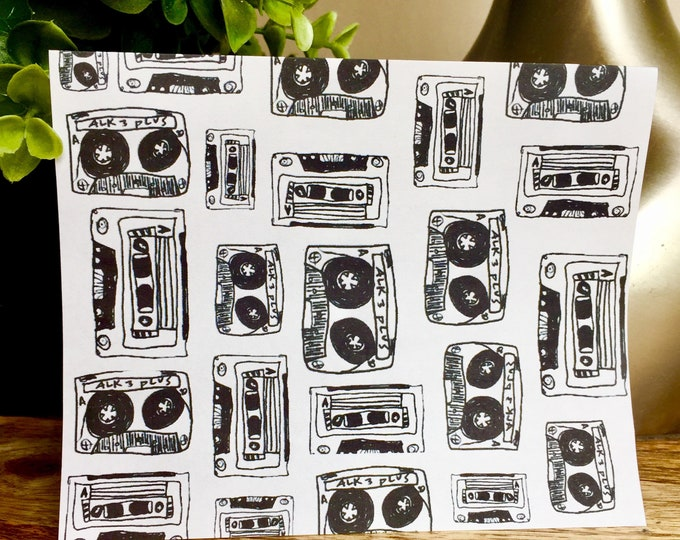 Mix tape print notecards, Set of 10 cards, thank you card set unique style, simple thank you card, handlettered stationery, mix tape