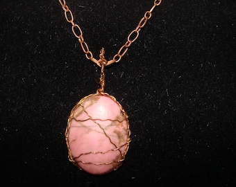 SALE ITEM***Handmade Wired Pink Stone Pendant Necklace on a Antique Gold Tone Chain